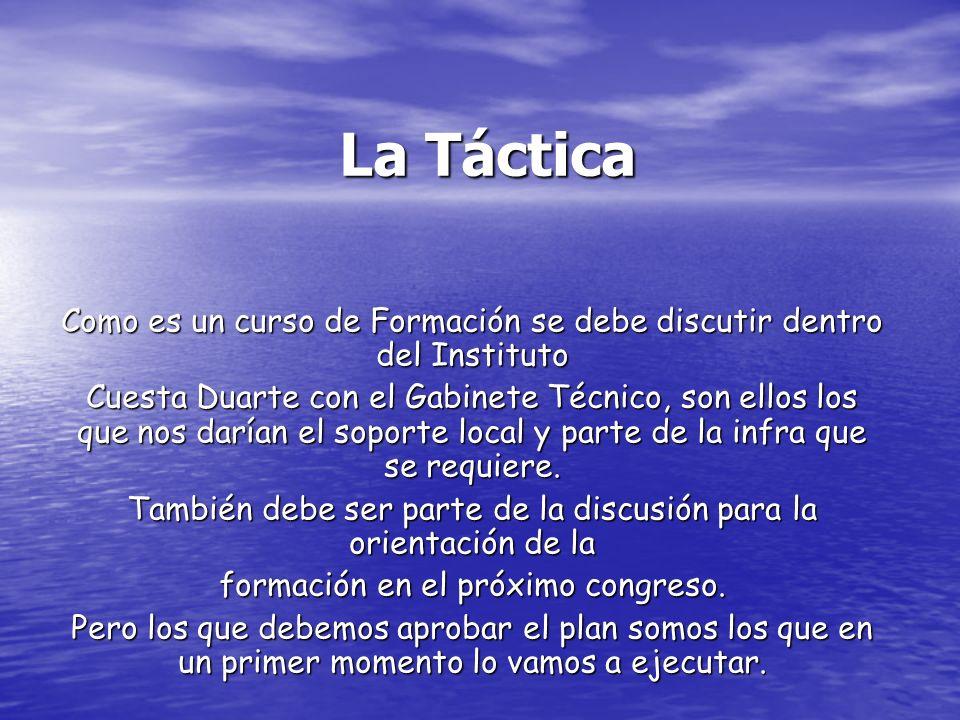 La Táctica Como es un curso de Formación se debe discutir dentro del Instituto Cuesta Duarte con el Gabinete Técnico, son ellos los que nos darían el soporte local y parte de la infra que se requiere.
