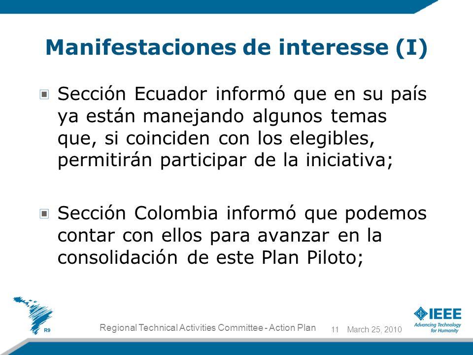Manifestaciones de interesse (I) Sección Ecuador informó que en su país ya están manejando algunos temas que, si coinciden con los elegibles, permitirán participar de la iniciativa; Sección Colombia informó que podemos contar con ellos para avanzar en la consolidación de este Plan Piloto; March 25, 201011 Regional Technical Activities Committee - Action Plan
