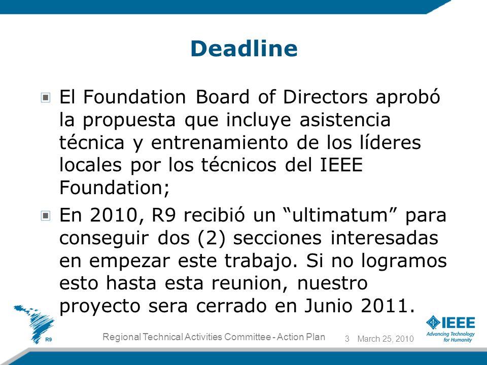 Deadline El Foundation Board of Directors aprobó la propuesta que incluye asistencia técnica y entrenamiento de los líderes locales por los técnicos del IEEE Foundation; En 2010, R9 recibió un ultimatum para conseguir dos (2) secciones interesadas en empezar este trabajo.