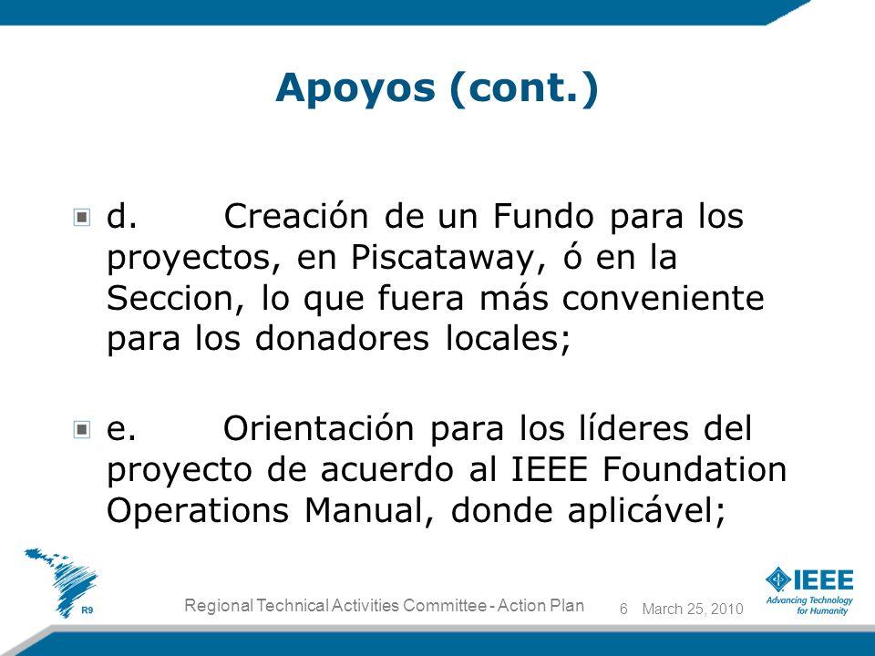 Apoyos (cont.) d. Creación de un Fundo para los proyectos, en Piscataway, ó en la Seccion, lo que fuera más conveniente para los donadores locales; e.