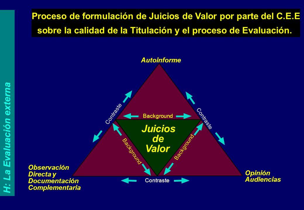 Proceso de formulación de Juicios de Valor por parte del C.E.E sobre la calidad de la Titulación y el proceso de Evaluación.