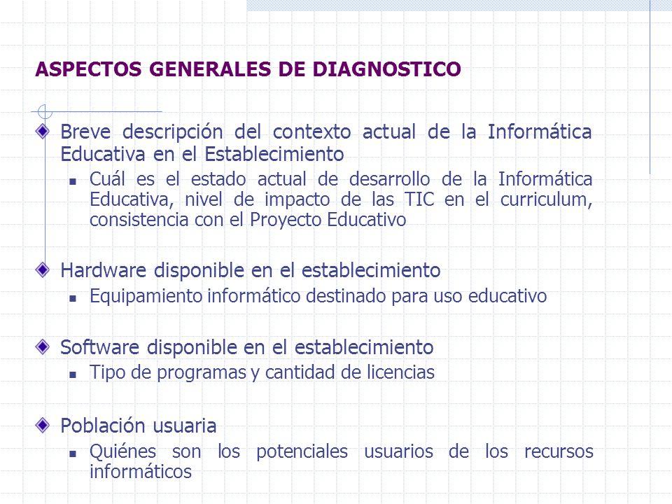 ASPECTOS GENERALES DE DIAGNOSTICO Breve descripción del contexto actual de la Informática Educativa en el Establecimiento Cuál es el estado actual de