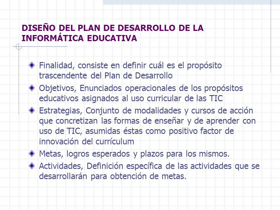 DISEÑO DEL PLAN DE DESARROLLO DE LA INFORMÁTICA EDUCATIVA Finalidad, consiste en definir cuál es el propósito trascendente del Plan de Desarrollo Obje