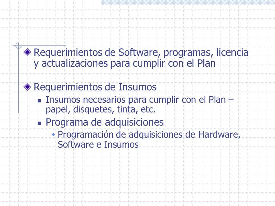 Requerimientos de Software, programas, licencia y actualizaciones para cumplir con el Plan Requerimientos de Insumos Insumos necesarios para cumplir c