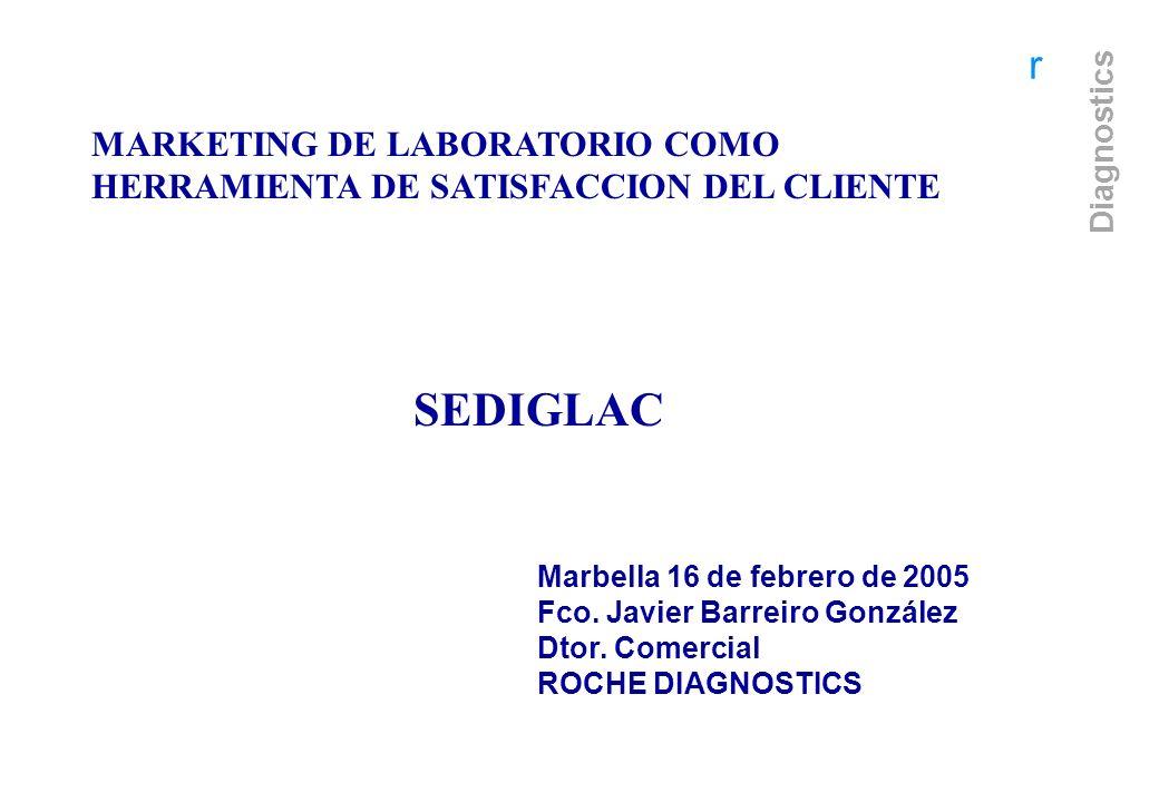 r Diagnostics r MARKETING DE LABORATORIO COMO HERRAMIENTA DE SATISFACCION DEL CLIENTE SEDIGLAC Marbella 16 de febrero de 2005 Fco. Javier Barreiro Gon