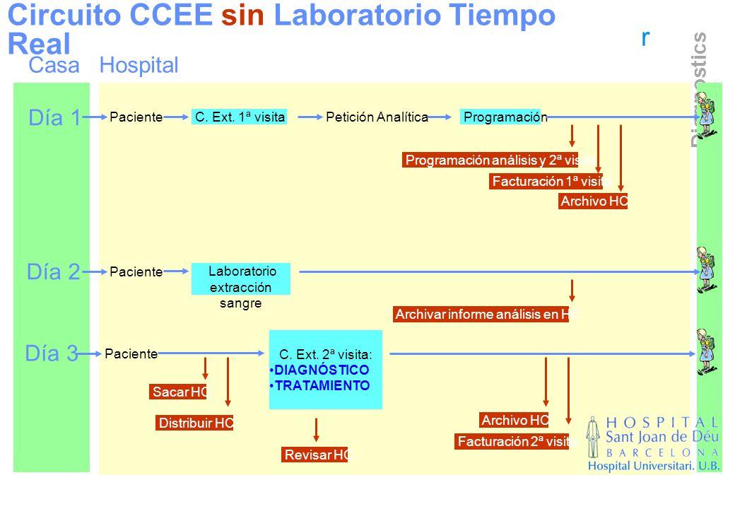 r Diagnostics Circuito CCEE sin Laboratorio Tiempo Real Casa Día 1 Día 2 Día 3 Hospital Paciente C. Ext. 1ª visitaPetición Analítica Programación Fact