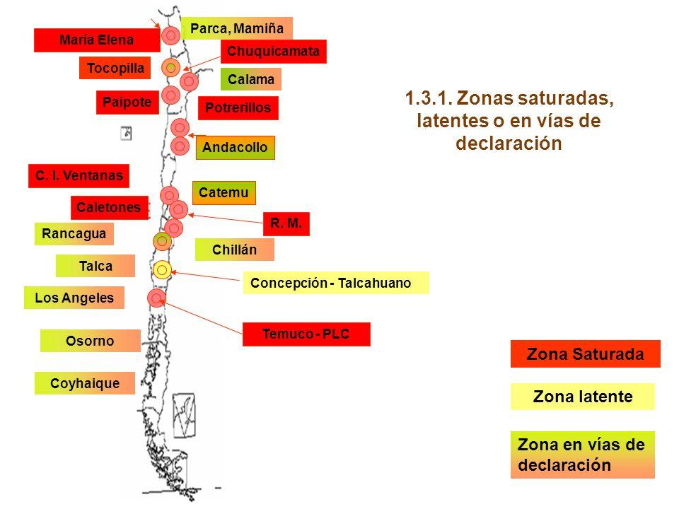 Zona latente Zona Saturada Zona en vías de declaración Temuco - PLC Concepción - Talcahuano Paipote Potrerillos Parca, Mamiña Rancagua C.