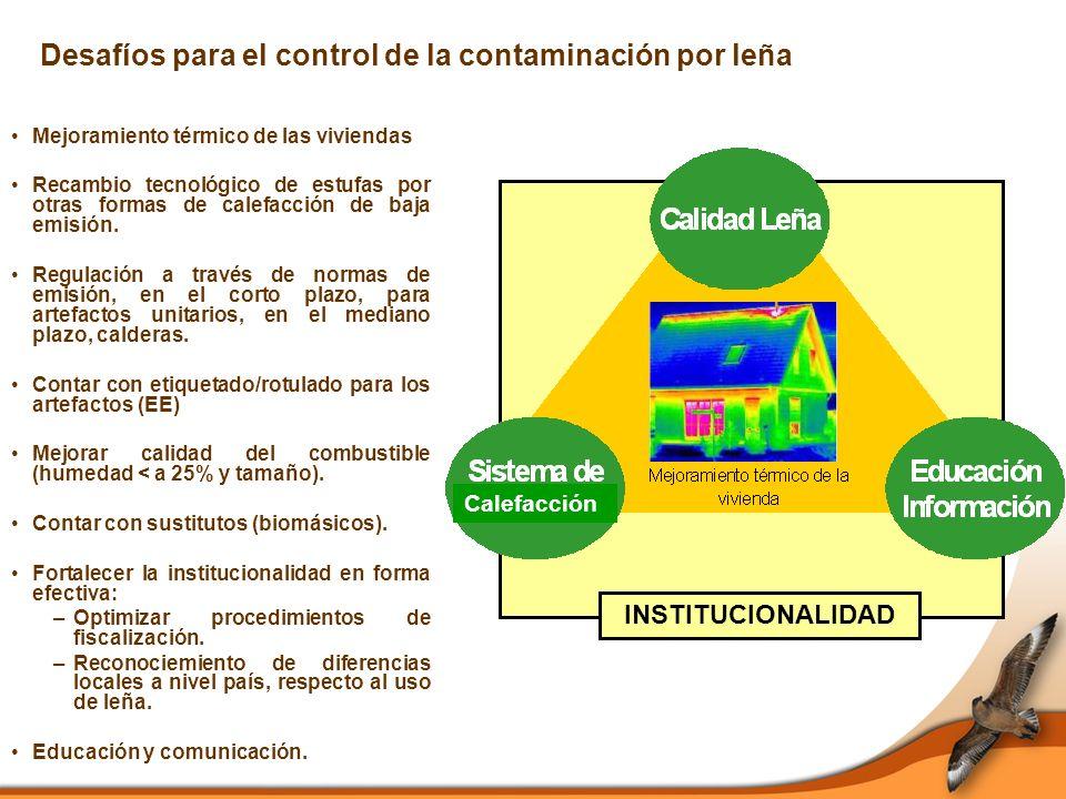 Desafíos para el control de la contaminación por leña Mejoramiento térmico de las viviendas Recambio tecnológico de estufas por otras formas de calefacción de baja emisión.