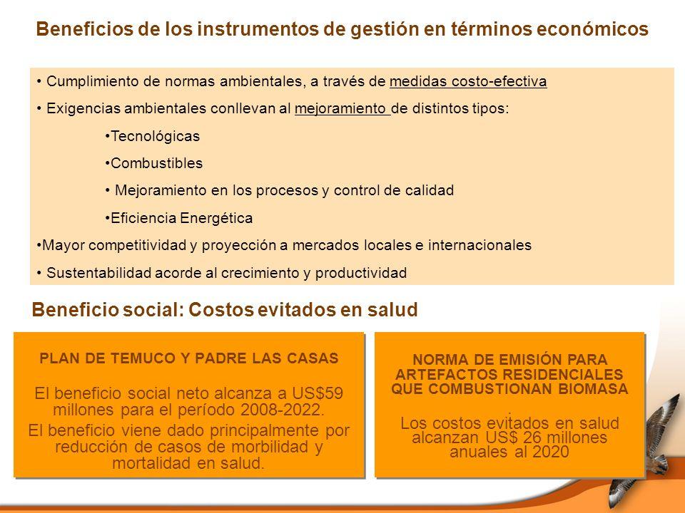 Beneficios de los instrumentos de gestión en términos económicos PLAN DE TEMUCO Y PADRE LAS CASAS El beneficio social neto alcanza a US$59 millones para el período 2008-2022.