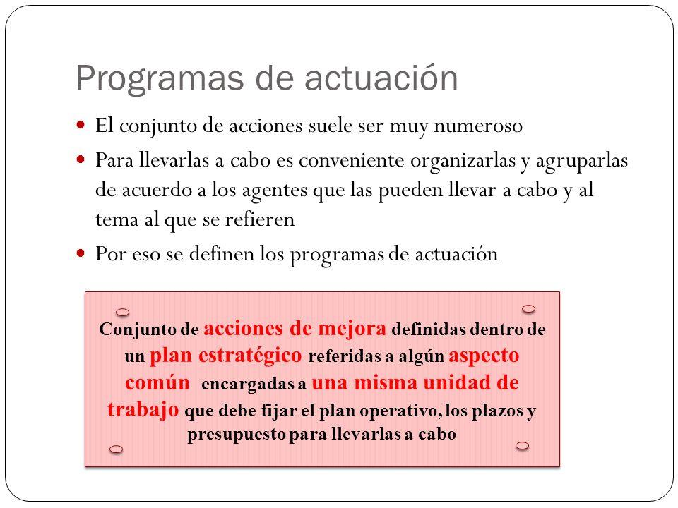 Programas de actuación El conjunto de acciones suele ser muy numeroso Para llevarlas a cabo es conveniente organizarlas y agruparlas de acuerdo a los agentes que las pueden llevar a cabo y al tema al que se refieren Por eso se definen los programas de actuación Conjunto de acciones de mejora definidas dentro de un plan estratégico referidas a algún aspecto común encargadas a una misma unidad de trabajo que debe fijar el plan operativo, los plazos y presupuesto para llevarlas a cabo Conjunto de acciones de mejora definidas dentro de un plan estratégico referidas a algún aspecto común encargadas a una misma unidad de trabajo que debe fijar el plan operativo, los plazos y presupuesto para llevarlas a cabo