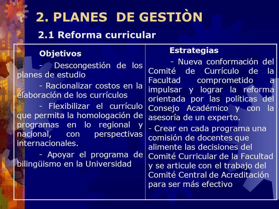 2. PLANES DE GESTIÒN Objetivos - Descongestión de los planes de estudio - Racionalizar costos en la elaboración de los currículos - Flexibilizar el cu