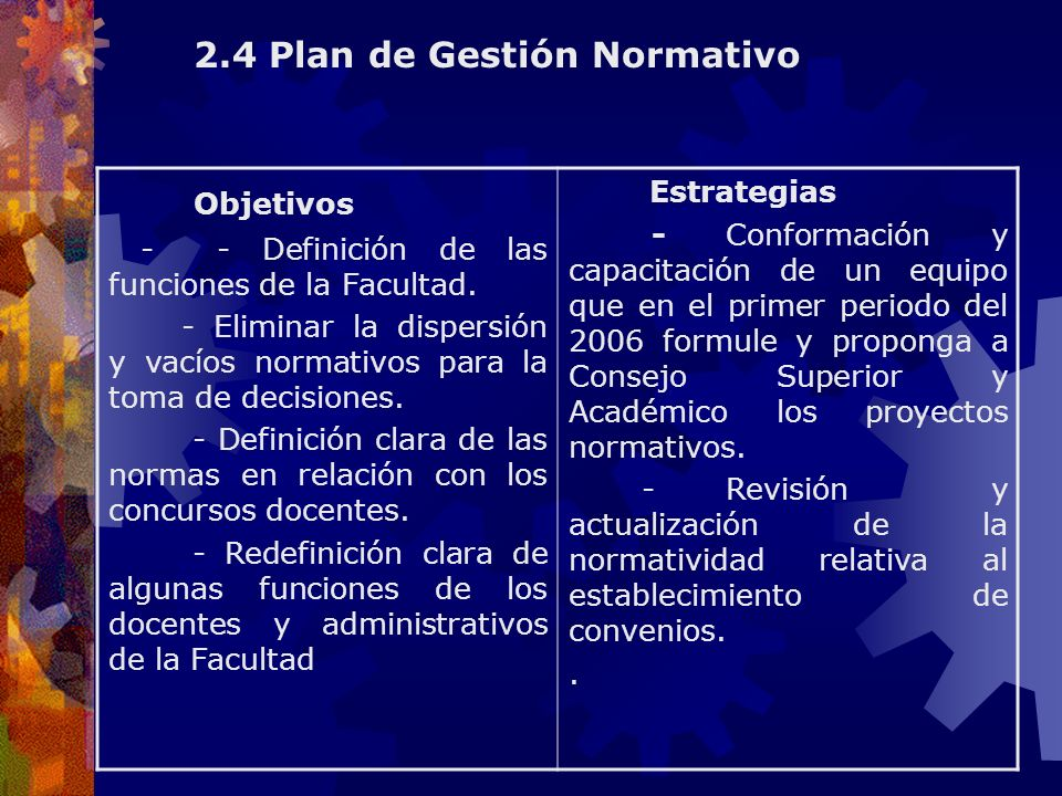 Objetivos - - Definición de las funciones de la Facultad. - Eliminar la dispersión y vacíos normativos para la toma de decisiones. - Definición clara
