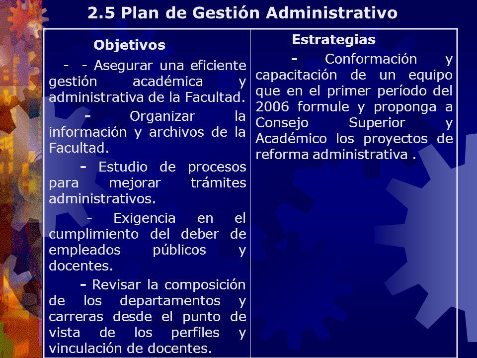 Objetivos - - Asegurar una eficiente gestión académica y administrativa de la Facultad. - Organizar la información y archivos de la Facultad. - Estudi