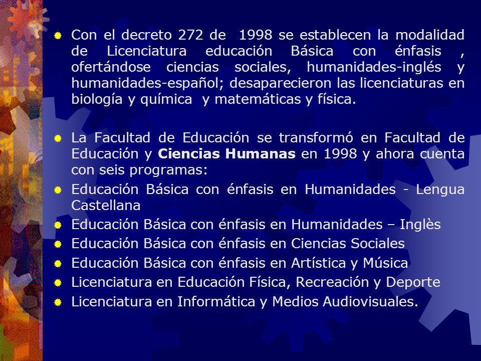 Con el decreto 272 de 1998 se establecen la modalidad de Licenciatura educación Básica con énfasis, ofertándose ciencias sociales, humanidades-inglés