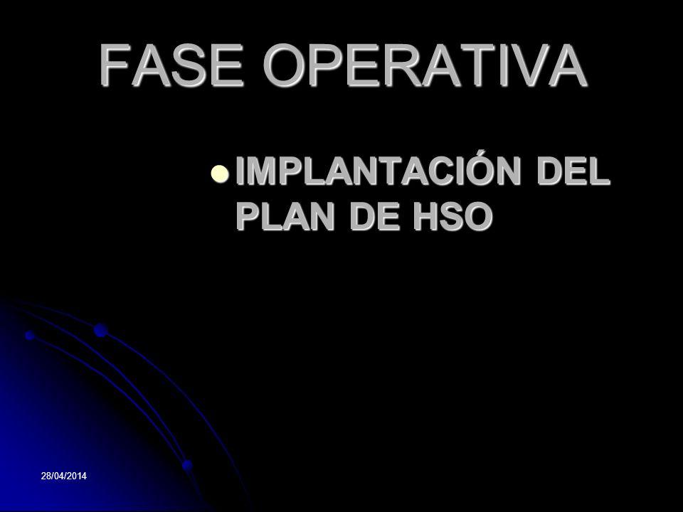28/04/2014 FASE OPERATIVA IMPLANTACIÓN DEL PLAN DE HSO IMPLANTACIÓN DEL PLAN DE HSO