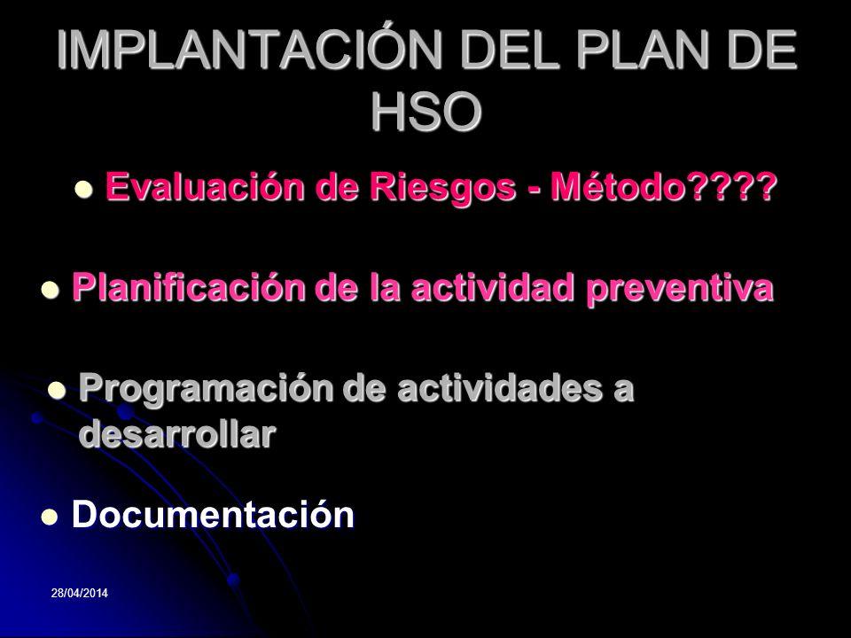 28/04/2014 IMPLANTACIÓN DEL PLAN DE HSO Evaluación Evaluación de Riesgos - Método???? Planificación Planificación de la actividad preventiva Programac