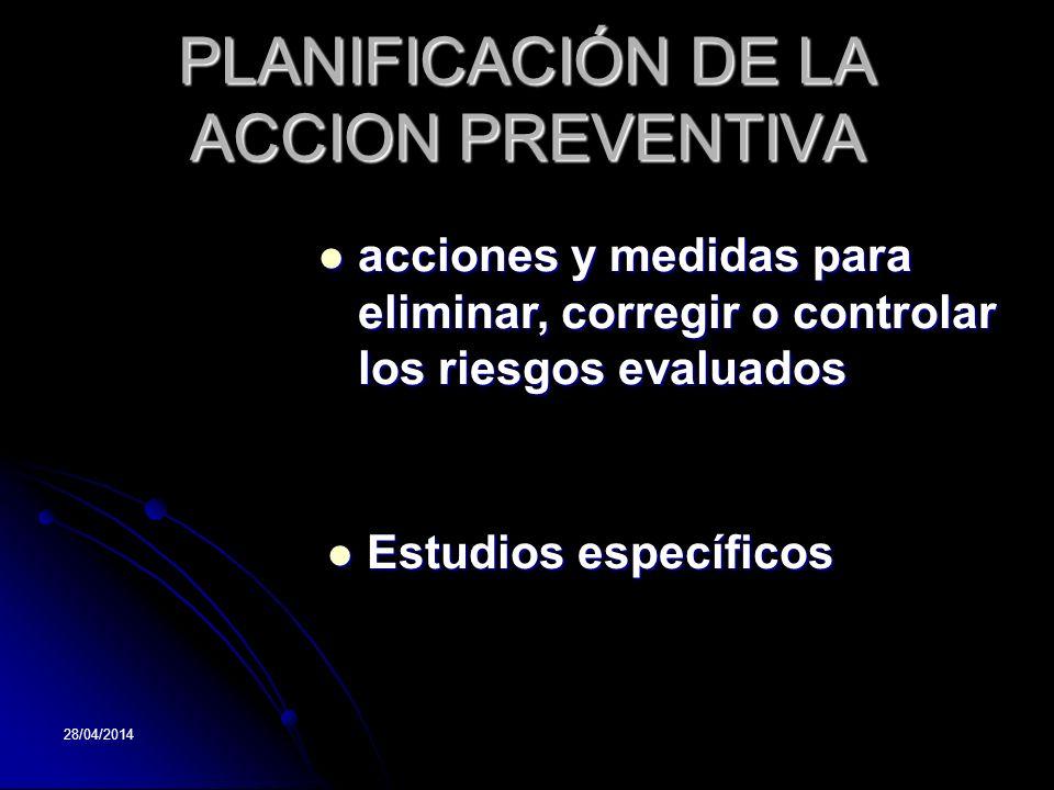 28/04/2014 PLANIFICACIÓN DE LA ACCION PREVENTIVA acciones acciones y medidas para eliminar, corregir o controlar los riesgos evaluados Estudios especí