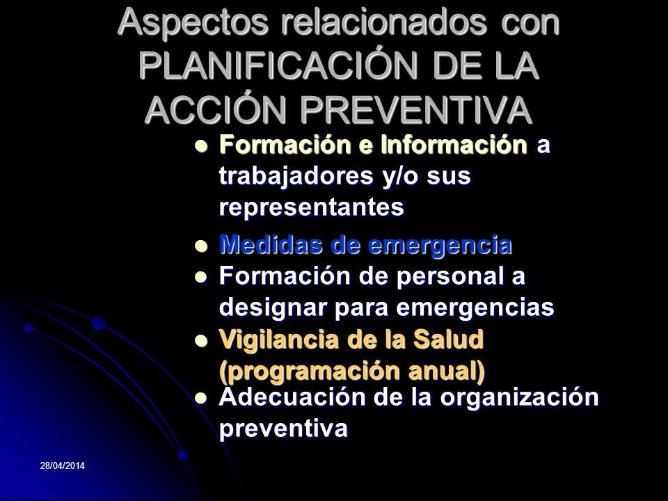 28/04/2014 Aspectos relacionados con PLANIFICACIÓN DE LA ACCIÓN PREVENTIVA Formación Formación e Información Información a trabajadores y/o sus repres