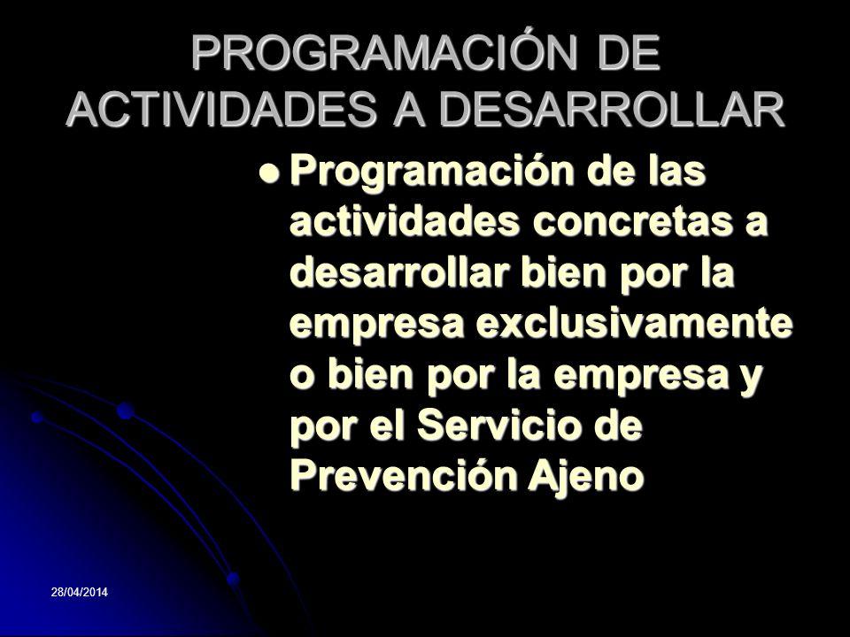 28/04/2014 PROGRAMACIÓN DE ACTIVIDADES A DESARROLLAR Programación de las actividades concretas a desarrollar bien por la empresa exclusivamente o bien