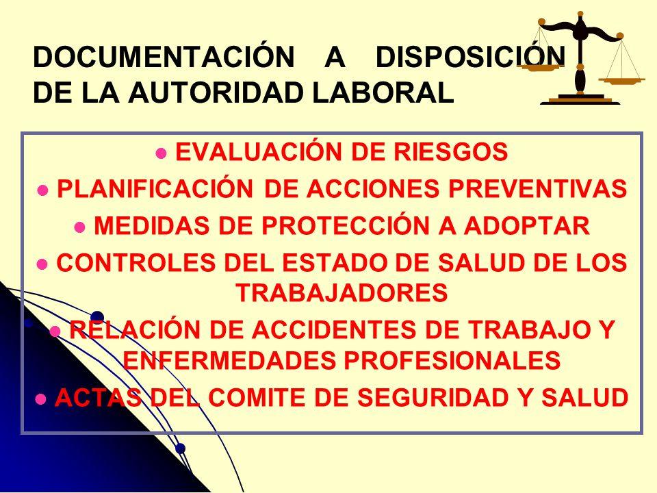 DOCUMENTACIÓN A DISPOSICIÓN DE LA AUTORIDAD LABORAL EVALUACIÓN DE RIESGOS PLANIFICACIÓN DE ACCIONES PREVENTIVAS MEDIDAS DE PROTECCIÓN A ADOPTAR CONTRO
