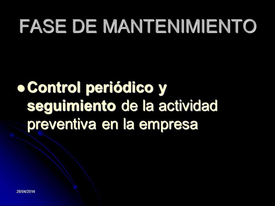 28/04/2014 FASE DE MANTENIMIENTO Control periódico y seguimiento de la actividad preventiva en la empresa Control periódico y seguimiento de la activi