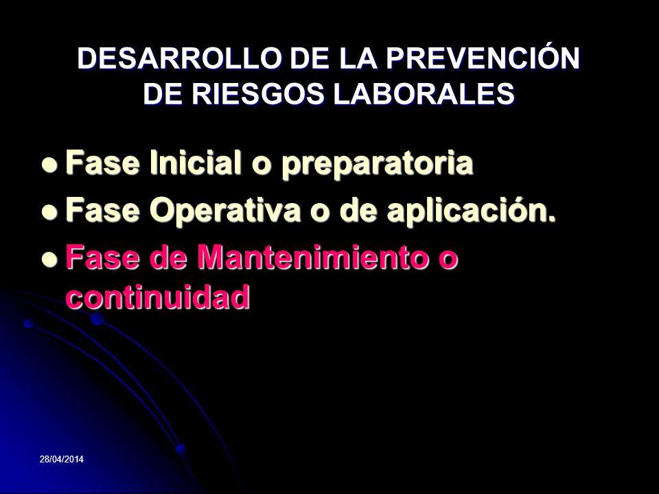 28/04/2014 Fase Inicial o preparatoria Fase Inicial o preparatoria Fase Operativa o de aplicación. Fase Operativa o de aplicación. Fase de Mantenimien