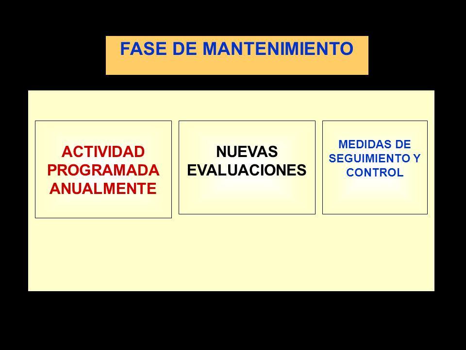 ACTIVIDAD PROGRAMADA ANUALMENTE NUEVAS EVALUACIONES MEDIDAS DE SEGUIMIENTO Y CONTROL FASE DE MANTENIMIENTO