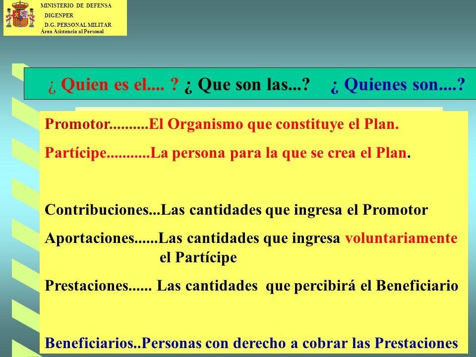 MINISTERIO DE DEFENSA DIGENPER D.G.PERSONAL MILITAR Área Asistencia al Personal 4 ¿ Que es la.....