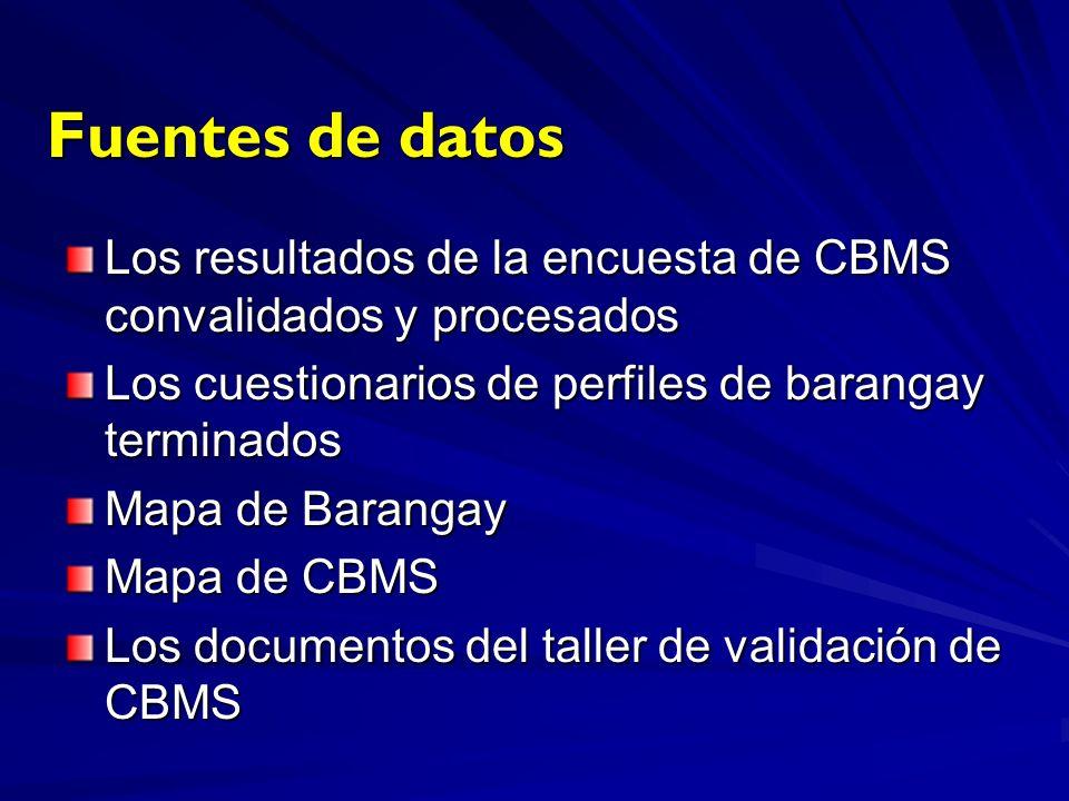 Fuentes de datos Los resultados de la encuesta de CBMS convalidados y procesados Los cuestionarios de perfiles de barangay terminados Mapa de Barangay Mapa de CBMS Los documentos del taller de validación de CBMS