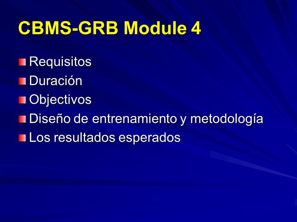 CBMS-GRB Module 4 RequisitosDuraciónObjectivos Diseño de entrenamiento y metodología Los resultados esperados