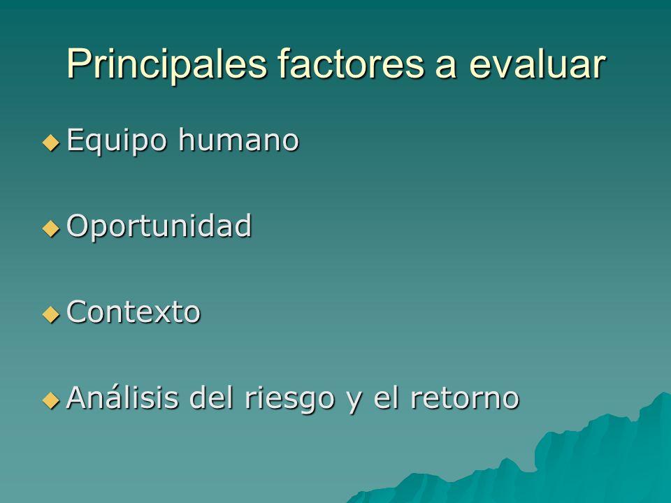 Principales factores a evaluar Equipo humano Equipo humano Oportunidad Oportunidad Contexto Contexto Análisis del riesgo y el retorno Análisis del riesgo y el retorno