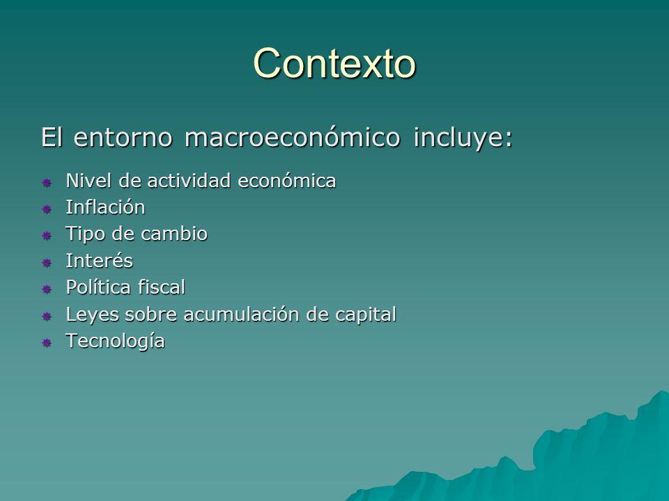 Contexto El entorno macroeconómico incluye: Nivel de actividad económica Nivel de actividad económica Inflación Inflación Tipo de cambio Tipo de cambio Interés Interés Política fiscal Política fiscal Leyes sobre acumulación de capital Leyes sobre acumulación de capital Tecnología Tecnología