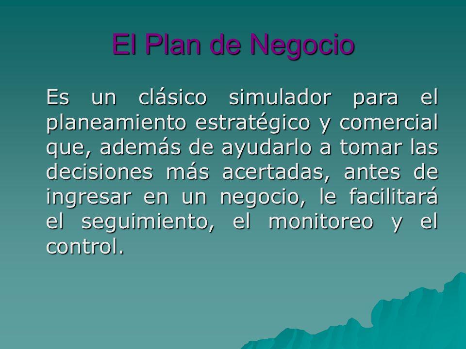 El Plan de Negocio Es un clásico simulador para el planeamiento estratégico y comercial que, además de ayudarlo a tomar las decisiones más acertadas, antes de ingresar en un negocio, le facilitará el seguimiento, el monitoreo y el control.