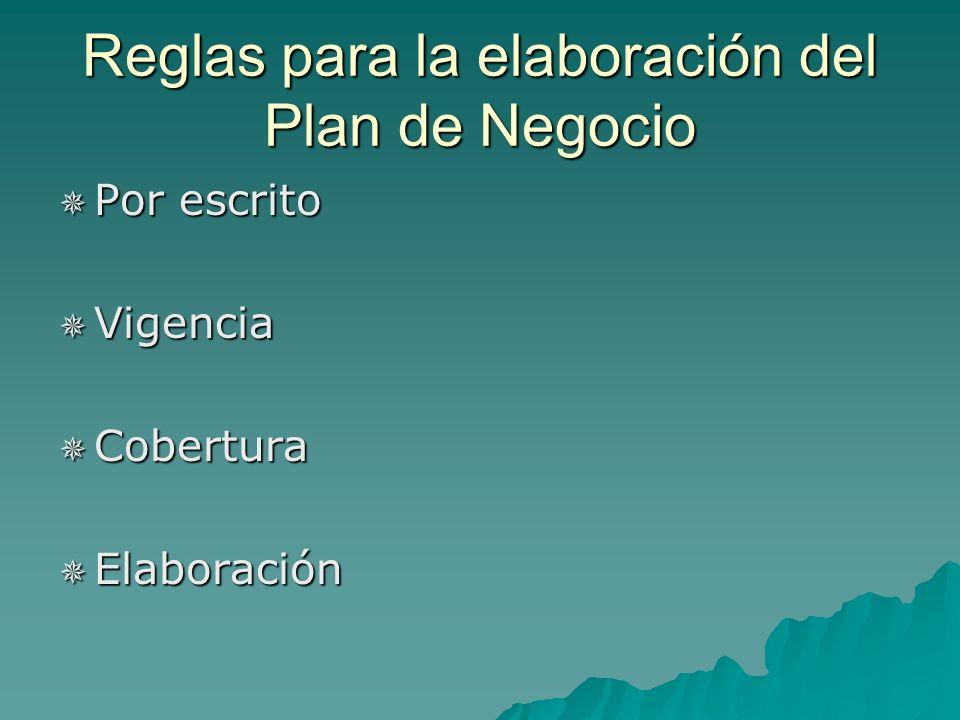 Reglas para la elaboración del Plan de Negocio Por escrito Por escrito Vigencia Vigencia Cobertura Cobertura Elaboración Elaboración