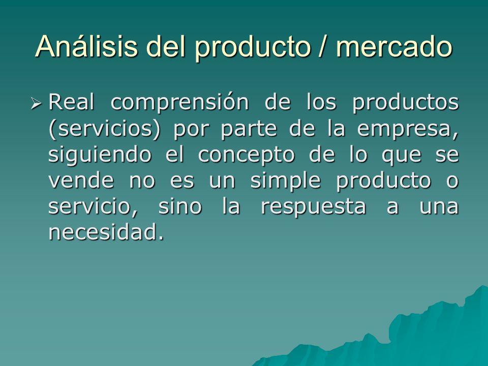 Análisis del producto / mercado Real comprensión de los productos (servicios) por parte de la empresa, siguiendo el concepto de lo que se vende no es un simple producto o servicio, sino la respuesta a una necesidad.