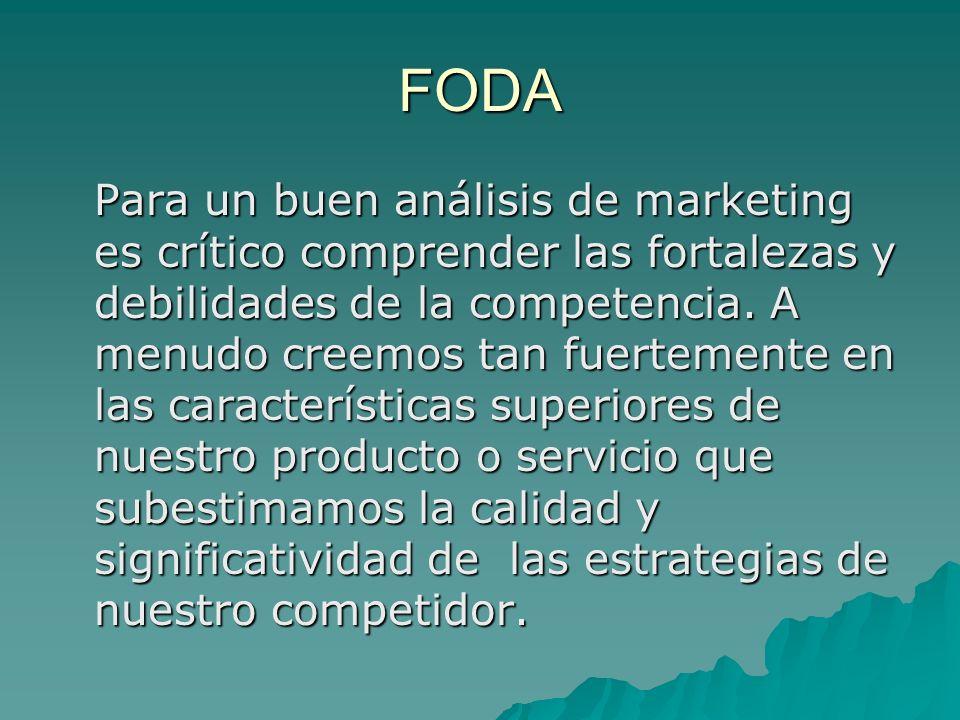 FODA Para un buen análisis de marketing es crítico comprender las fortalezas y debilidades de la competencia.