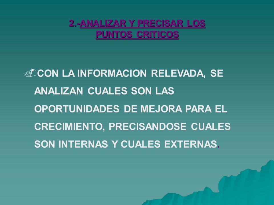 2.-ANALIZAR Y PRECISAR LOS PUNTOS CRITICOS CON LA INFORMACION RELEVADA, SE ANALIZAN CUALES SON LAS OPORTUNIDADES DE MEJORA PARA EL CRECIMIENTO, PRECISANDOSE CUALES SON INTERNAS Y CUALES EXTERNAS.