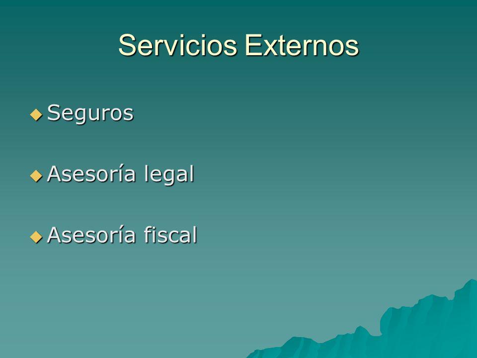 Servicios Externos Seguros Seguros Asesoría legal Asesoría legal Asesoría fiscal Asesoría fiscal