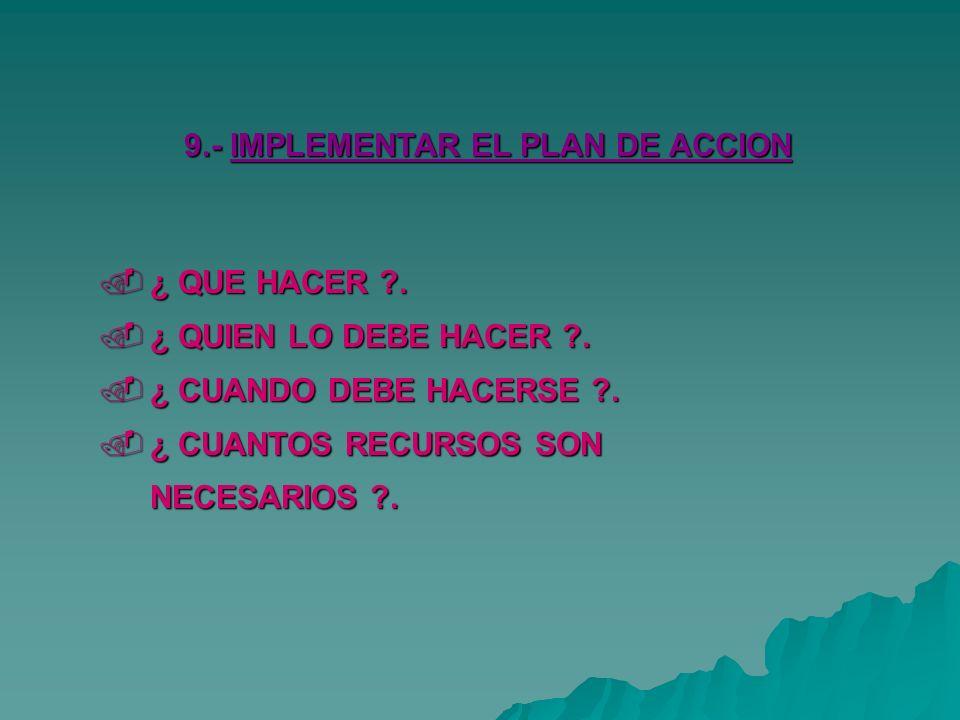 9.- IMPLEMENTAR EL PLAN DE ACCION ¿ QUE HACER ?.¿ QUE HACER ?.