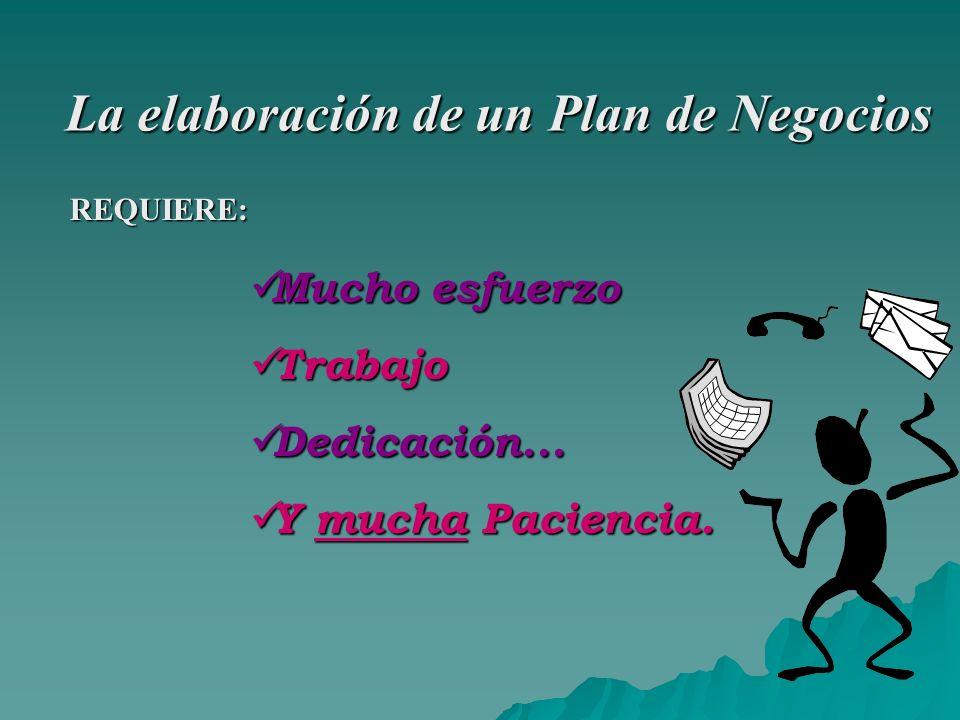 La elaboración de un Plan de Negocios REQUIERE: Mucho esfuerzo Mucho esfuerzo Trabajo Trabajo Dedicación...