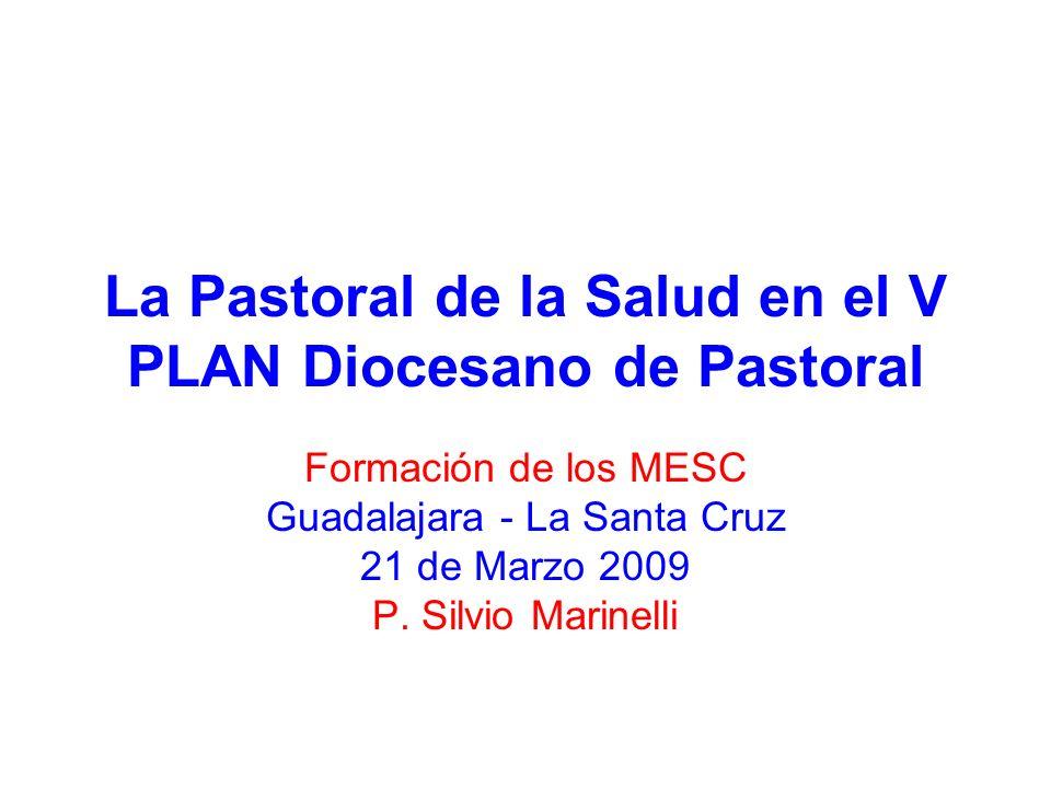La Pastoral de la Salud en el V PLAN Diocesano de Pastoral Formación de los MESC Guadalajara - La Santa Cruz 21 de Marzo 2009 P. Silvio Marinelli