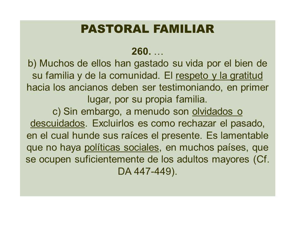 PASTORAL FAMILIAR 260. … b) Muchos de ellos han gastado su vida por el bien de su familia y de la comunidad. El respeto y la gratitud hacia los ancian