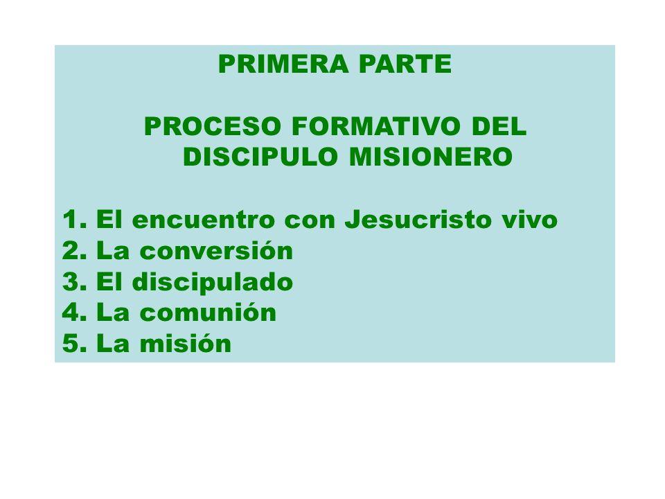 PRIMERA PARTE PROCESO FORMATIVO DEL DISCIPULO MISIONERO 1. El encuentro con Jesucristo vivo 2. La conversión 3. El discipulado 4. La comunión 5. La mi