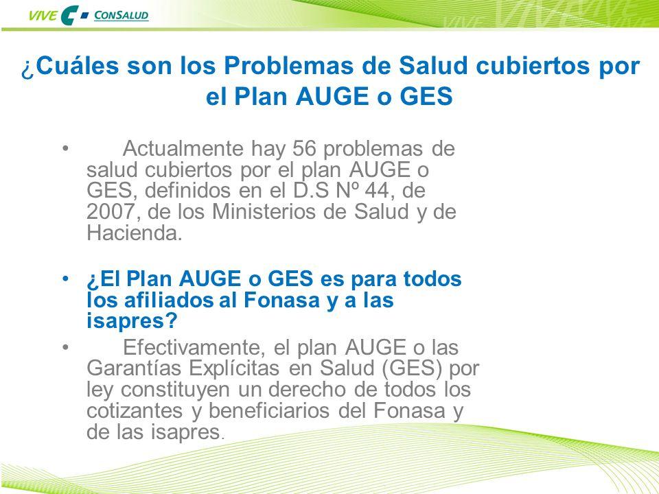 12 ¿Cuáles son los Problemas de Salud cubiertos por el Plan AUGE o GES Actualmente hay 56 problemas de salud cubiertos por el plan AUGE o GES, definid