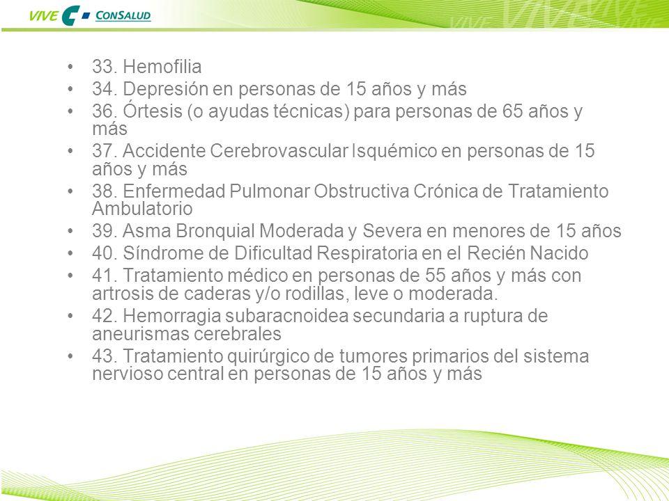 15 33. Hemofilia 34. Depresión en personas de 15 años y más 36. Órtesis (o ayudas técnicas) para personas de 65 años y más 37. Accidente Cerebrovascul