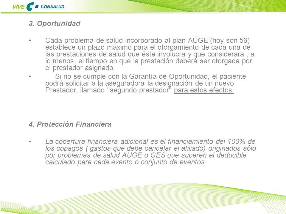 8 3. Oportunidad Cada problema de salud incorporado al plan AUGE (hoy son 56) establece un plazo máximo para el otorgamiento de cada una de las presta