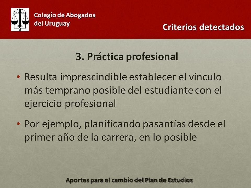 3. Práctica profesional Resulta imprescindible establecer el vínculo más temprano posible del estudiante con el ejercicio profesional Resulta impresci