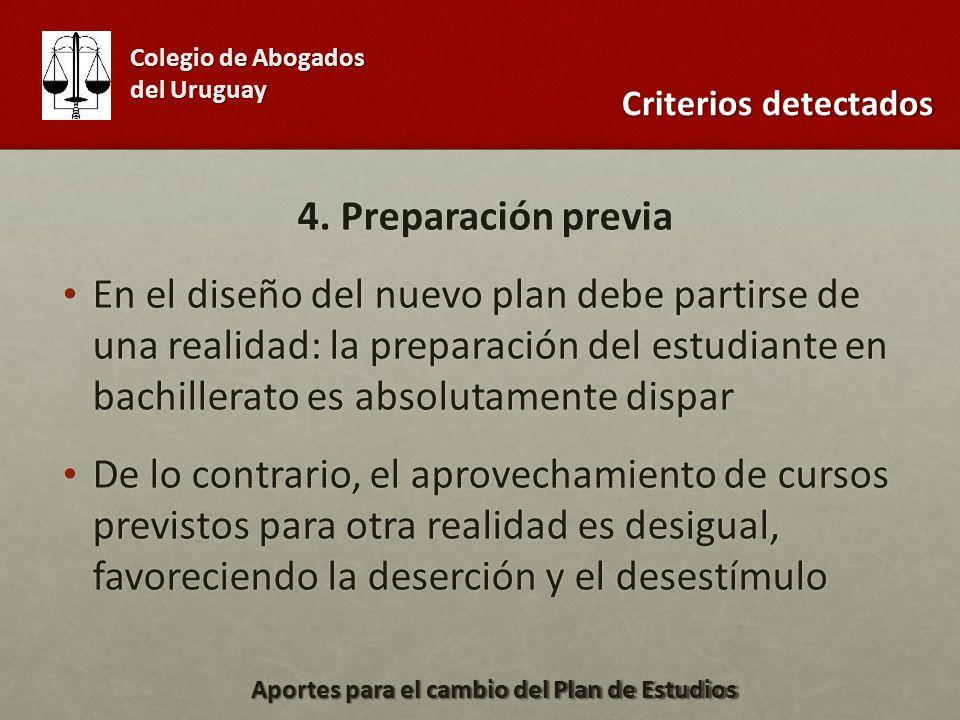 4. Preparación previa En el diseño del nuevo plan debe partirse de una realidad: la preparación del estudiante en bachillerato es absolutamente dispar