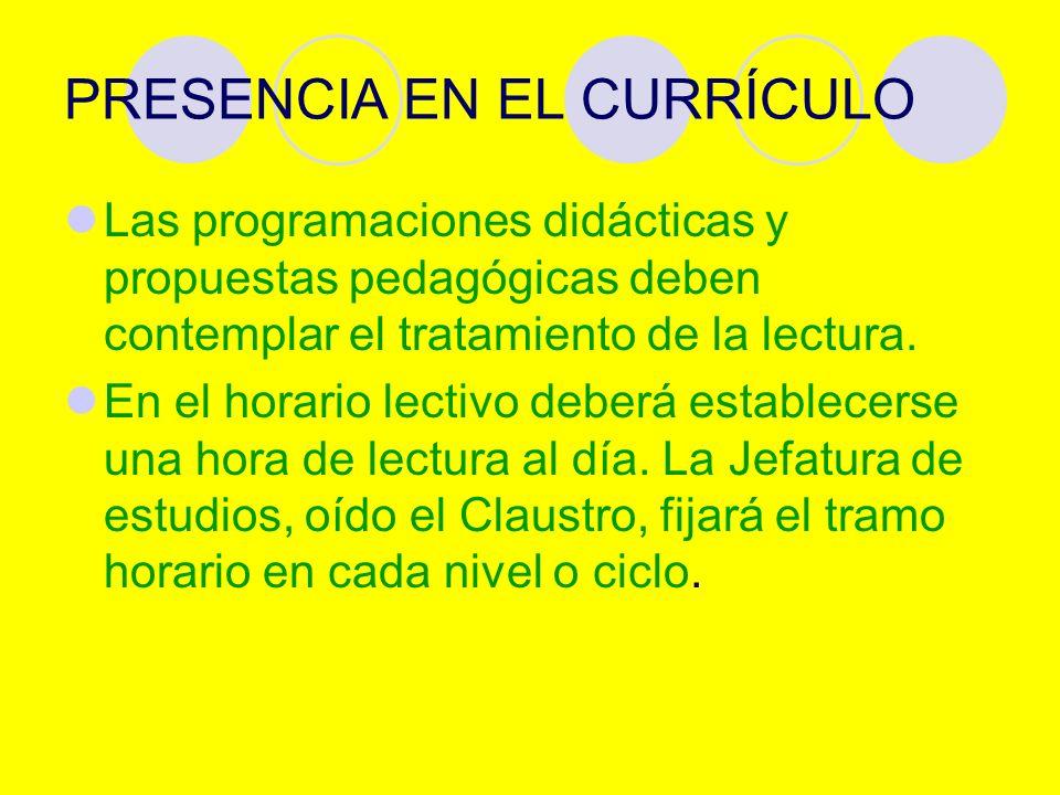 PRESENCIA EN EL CURRÍCULO Las programaciones didácticas y propuestas pedagógicas deben contemplar el tratamiento de la lectura.
