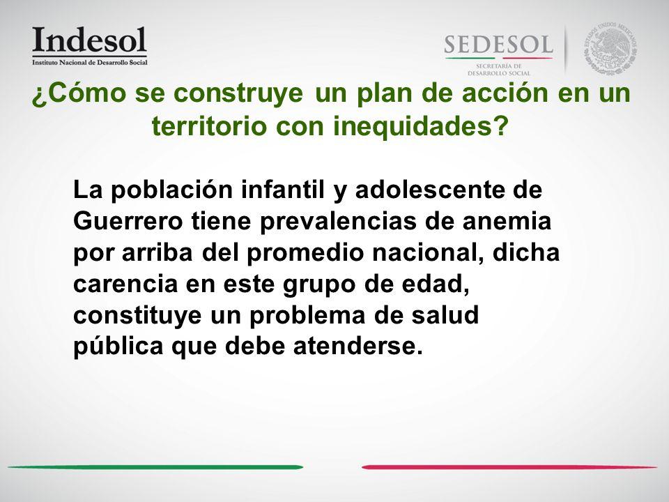 La población infantil y adolescente de Guerrero tiene prevalencias de anemia por arriba del promedio nacional, dicha carencia en este grupo de edad, c